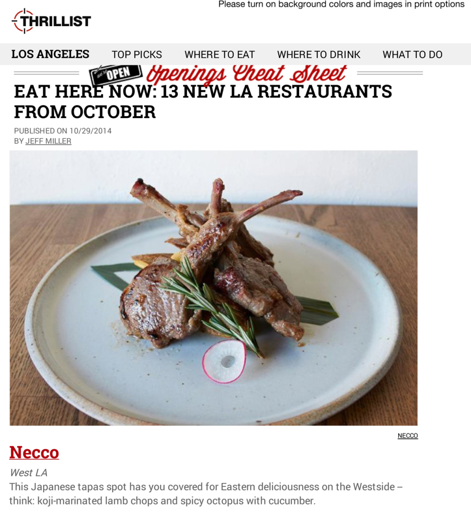 Best New Restaurants In LA - October, 2014