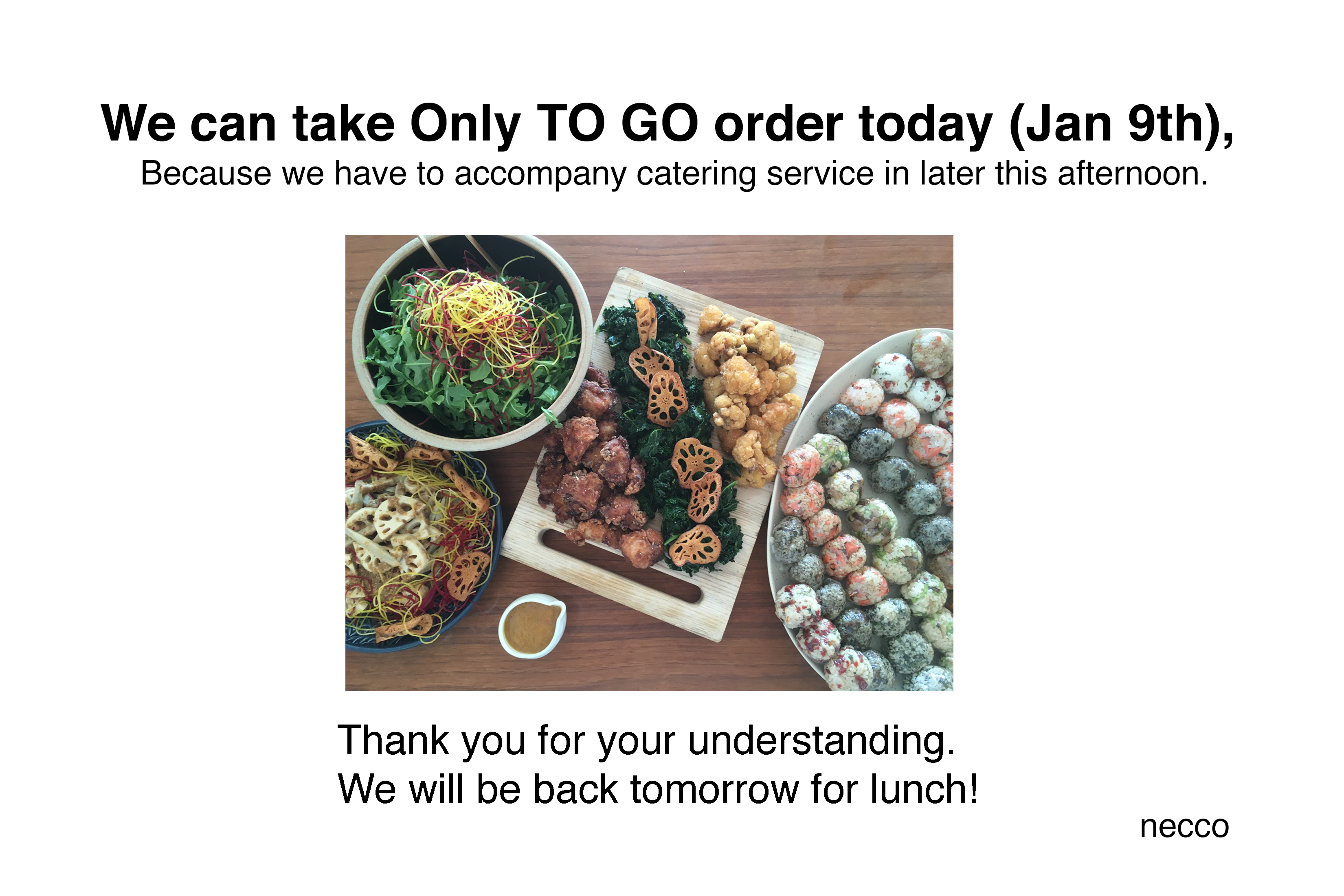 0e8179c05 We can take only TO GO order today ( Jan 9th) | necco - Japanese tapas  restaurantnecco – Japanese tapas restaurant
